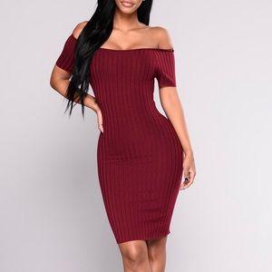 Fashion Nova Burgundy Off Shoulder Pollyanna Dress